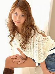 Japanese model Kanoka in little jean skirt