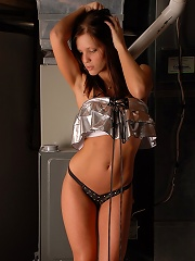 Short silvery dress on karen