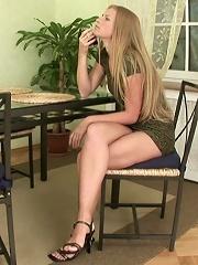 Naughty blonde teen girl enjoys touching her pussy