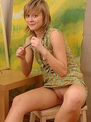 Sexy little blonde Czech teen reveals all