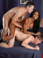 Ebony sweetheart Natassia Dreams in a hot interracial threesome