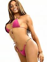 Gorgeous longhaired tgirl in lil pink bikini