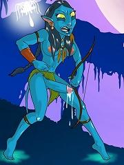 Transsexual pleasures of Avatar - Jake tastes Neytiris cock