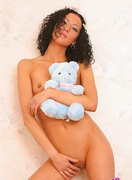 Georgeous Topless Kelly Poses With Teddy Bear Showing Off Her Smooth Twat. Teen Porn Pix