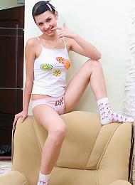 Dark-haired Chick Stripping Teen Porn Pix