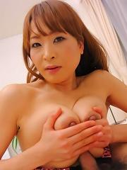 Hikaru Wakabayashi Asian licks shlong and takes it between boobs