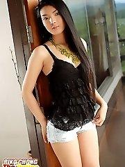 Pretty Riko Chong Strips Denim Shorts