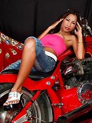 Hot Lulu posing on a hot motorcycle