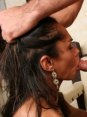 Swarthy longhaired tgirl is nailed doggy style