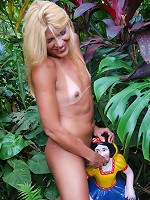 Naughty blond t-girl exposes shecock